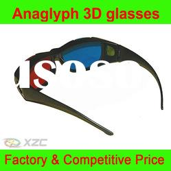 Red blue anaglyph plastic 3D glasses for nearsighted