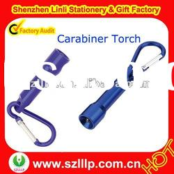 Supply promotional metal alloy led carabiner keychain torch light