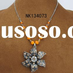 antique silver plating alloy flower pendant vintage necklace
