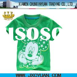 green children printing t shirts with cartoon printing