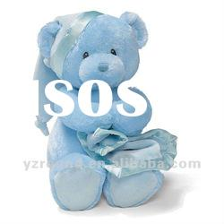 loveable plush baby doll soft nightly blue bear with blanket
