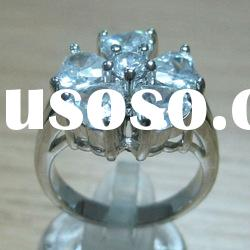 sakura ring plated white gold copper pave cz ring