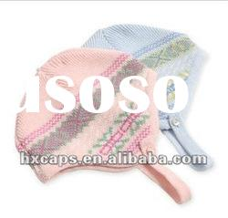 100% cotton custom knitted child winter cap with ear flat