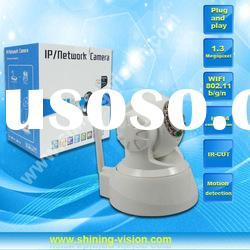 1.3 megapixel pan/tilt ir wifi ip security camera support two way audio and motion detection