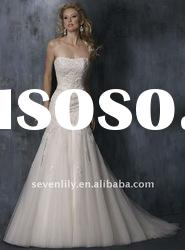 2012 New Strapless Nice Lace Embroidery Mermaid Style Tulle Wedding Gowns and Bridal Dress