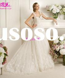 2012 Stunning A-Line Spaghetti Strap Low Back Zip Lace Bridal Wedding Gowns &Dresses Long Train
