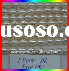 7-8mm freshwater white rice pearl strands PS281