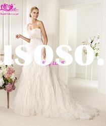 Beach Sweetheart Long Train Ruffles Fluffy Feather Bridal Gown 2012 The Modest Best Wedding Dress