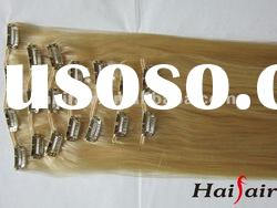 Blonde human hair weft with clips wholesale price
