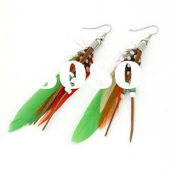 Cheap Fashion Natural Feather Earrings Jewelry For Woman FEA55