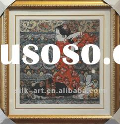 Chinese style oil painting, wall decoration, silk weaving decoration