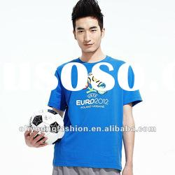 European cup high quality pure cotton short sleeve round neck t-shirt