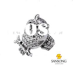 Exquisite design owl men's silver rings with simulated black diamond ring