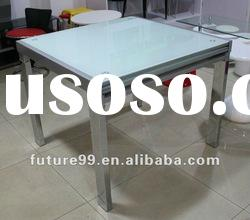 Extension square tempered glass with chrome legs dining table
