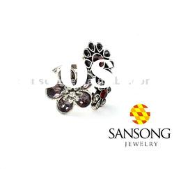 Fashion flower white gold ring with black diamond ring with zircon ring