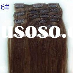 Full Head 10pcs, 21clips Clip-In human hair extension/clip on human hair weft
