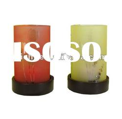 Glass Votives on a Wood Holders
