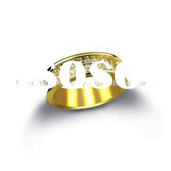Gold plated couples' silver ring with CZ paved, true love jewelry