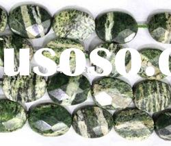 Green Hypersthene Faceted Oval Gemstone Beads Jewelry