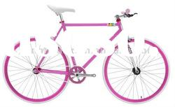 HH-FG1144 Pink fixed gear road bike with logo on