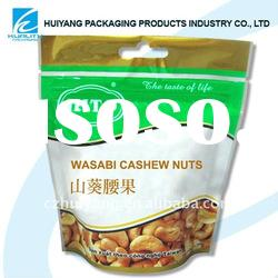 HOT!!Stand up plastic pouch for nuts packaging with zipper