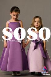 Hand-made Floor-length Satin a-line gown featuring narrow straps purple pageant flower girl dress