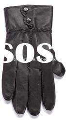 Men's patched leather gloves