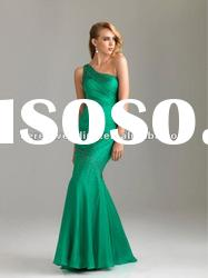 Mermaid Beaded One-Shoulder Floor-Length Green Chiffon Evening Dress