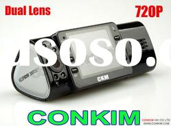 Night Vision Dual Camera Car DVR 720P With 120 degree Wide Angle CKM-DC80