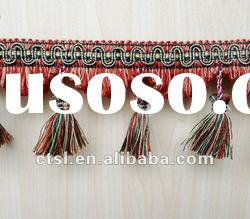 RED SUPERB LACENESS HANDMADE BRAIDED TASSEL FRINGE FOR DECORATION CURTAIN ACCESSORY