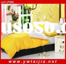Stock! 133*74 cotton single colored yellow and white AB style 4pcs bed cover set