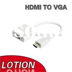 White 24cm HDMI male to VGA female Adapter Cable for NoteBook, Laptop, HD DVD,HD DV