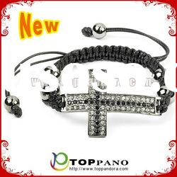 crystal cross bracelet with black rope