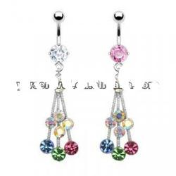 high quality crystal belly button ring body piercing navel jewelry