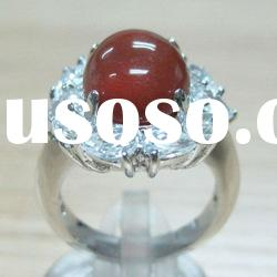 plated white gold copper pave cz agate ring