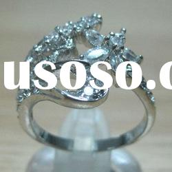 plated white gold copper pave cz flower ring for women