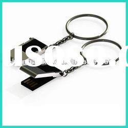 slim metal usb flash drive with keychain