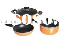 straight shape 5pcs non stick aluminium cookware set