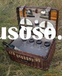 wicker picnic basket with handle and lid two shelves