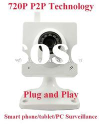 1.3MP 720P support smartphone tablet remote view night vision indoor H.264 P2P wireless IP camera