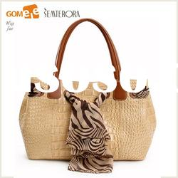 2012 Fashion Women Real Leather Hand Bags/ Designer crocodile bag/ silk decorate shoulder bags