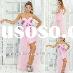 2012 Latest Pink Sweetheart Asymmetric Design Charming Beads Short Front Long Back Prom Dress1036