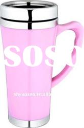 6oz Lovely Pink Ceramic Stainless Steel Office Coffee Cup