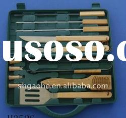 Barbecue Steel Wire Brush/ 4 pieces bbq tool set with wooden case