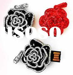 Crystal Rose USB Flash Drive with Plug-and-play Function, Customized Logos Accepted