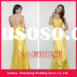 EVD005 2012 latest modern sweetheart beaded yellow lady dress