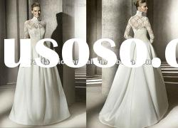 Elegant A-line High Collar Beaded Chapel Train Long Sleeves Wedding gown 2012