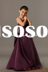 Elegant straight necklinet satin with a handmade flower Floor Length flower girl dress SH-FS-G10