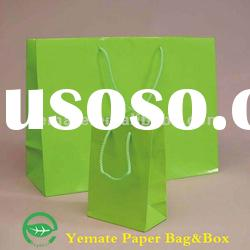 Green art paper laminated paper bags,paper shopping bag for jewelry,paper grocery bags with handles