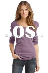 Ladies 100% Cotton Long Sleeve T shirt